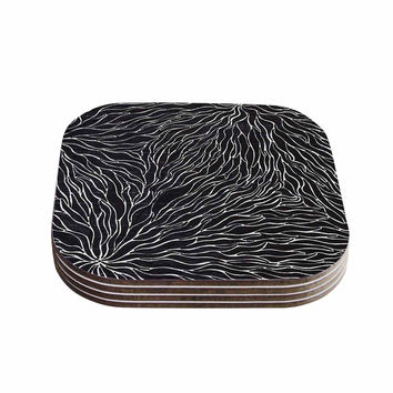 "Nl Designs ""Garden Illusion"" Black White Coasters (Set of 4)"