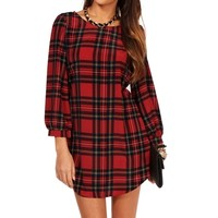 Red Plaid 34 Sleeve Tunic