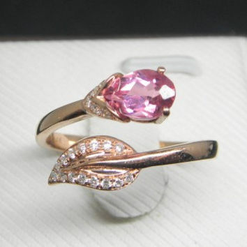 Engagement Ring - 0.5 Carat Pink Tourmaline Ring With Diamonds In 14K Rose Gold