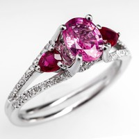 Natural Pink Sapphire Engagement Ring Ruby & Diamond Accents 18K White Gold