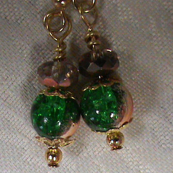 Green crackle round copper faceted glass bead dangle drop earrings