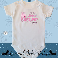 I'm the Little Sister Pink Hippo Baby Bodysuit for Baby Girl, Sibling Shirt, Sibling Bodysuit