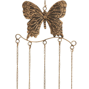 Butterfly Wind Chime In Attractive Antique Brass Finish