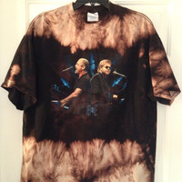 Bleached, tie dyed unisex Elton John Billy Joel Face 2 Face shirt size x large ...one of a kind t shirt