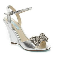 Blue by Betsey Johnson Jeweled Dress Wedge Sandals - Silver