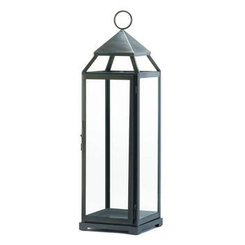 Rustic Silver Contemporary Candle Lantern - X-Tall