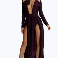 Amy Long Sleeve Square Neck Plunge Maxi Dress | Boohoo