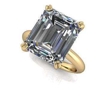 Large Emerald Cut Solitaire Engagement Ring - Russian Brilliants Solitaire Engagement Ring