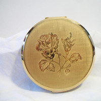 Vintage Round Stratton Rose Powder Compact Mirrored Vanity Purse Accessories Made in England