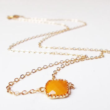 Mustard Yellow Pop of Color 16K Gold Plated Stacking Necklace - BridesMaid Gift - Gemstone Necklace