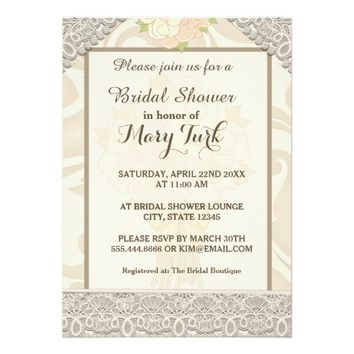 Beige Flowers Lace | Bridal Shower Invitation