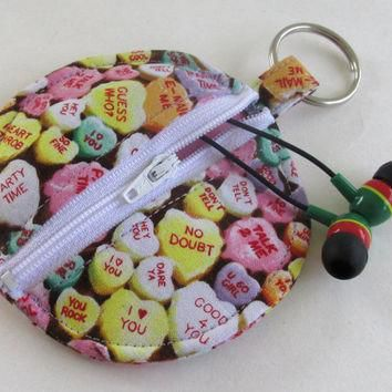 conversation hearts circle earbud holder pouch valentine s day coin purse heart ca