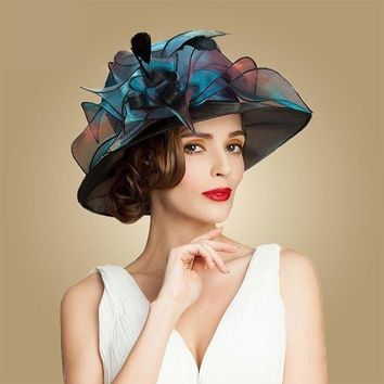 b5ce0fe286968 Blue Organza Hat With Flower Feather Large Wide Brim Church Vint
