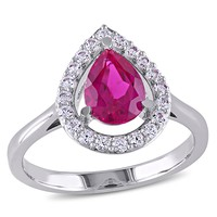 2 1/5 CT TGW Created Ruby Created White Sapphire Fashion Ring  Silver