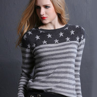 Grey Striped Star Print Long Sleeve Sweater