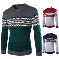 Color Block Men's Fashion Sweater