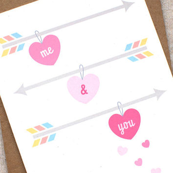 Valentine's Day Card, Cute Anniversary Card, Valentine Card -  Me & You - Love, Hearts, Arrows