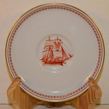 Copeland Spode Trade Winds Saucer Vintage Fine Stone English Large Saucer Red Gold Ship Tradewinds Pattern Spode Made in England Plate