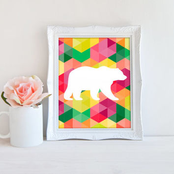 Geometric Shape Polygon Bear Printable Sign, Animal Digital Wall Art Template, Instant Download, 8x10
