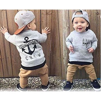 Fashion Newborn Baby Boys clothes Kids Long Sleeve Cotton Grey Sweater+Khaki Trousers 2PCS Trend Children Clothing Set Baby Boy