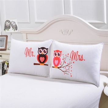 BeddingOutlet Body Pillowcase Mr and Mrs Owls Romantic Pillow Case Cover Valentine's Day Gift Home Textiles One Pair
