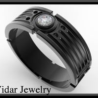 Star Wars 14k Black Gold Diamond Men's Wedding Ring