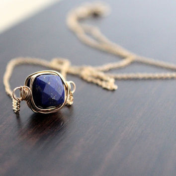 SALE Lapis Lazuli Necklace In 14K Gold Filled, Bezel Style Wire Wrapped, Minimalist Navy Blue Fashion Free Shipping