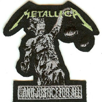 Metallica Iron-On Patch And Justice For All Statue Logo
