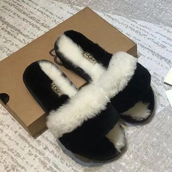 UGG Women Fashion Fur Flats Slippers Shoes