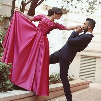 Dubai Elegant Taffeta Rose Red Prom Bridesmaid Dress Long Sleeve With Appliques Vestidos De Baile De Formatura Longos Kaftan