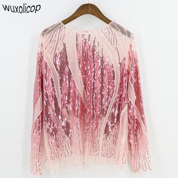 Women Shirt Summer Long Sleeve Embroidery Sequin Bead Sheer Lace Mesh Gauze Blouse Sexy Body Top