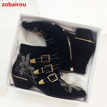 Zobairou Susanna Rivets Embroidered Black Leather Ankle Boots Med Chunky Heel Celebrity Fashion Floral Batas Women Studded Shoes