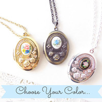 Floral Locket - Choose Your Color - Vintage Cameo - Oval Locket - Photo Locket - Bridesmaid Gift