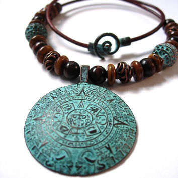 Statement Necklace Copper Mayan Calendar Pendant with Green Patina on a Leather Choker Mykonos Castings Spiral Clasp Tribal Style  Jewelry