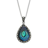 Tori Hill Abalone & Marcasite Sterling Silver Teardrop Pendant Necklace (White)