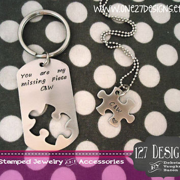 Hand Stamped Puzzle Piece Cut Out Dog Tag You Are My Missing Piece Hanstamped His and Hers Custom Personalize Keychain Jewelry Set