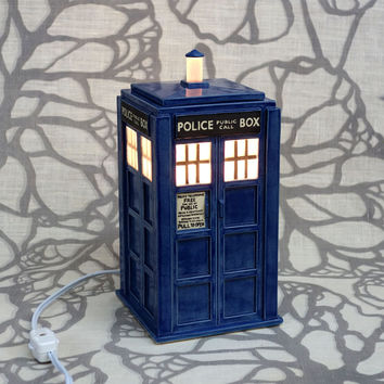 Ceramic Tardis Lamp - Gorgeous Sculptural Police Box Table Top Lantern