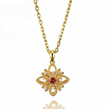 European style 3mm Natural Garnet Engagement Pendant For Women Star Style 925 Sterling Silver Yellow Gold Plated Necklace Jewelry