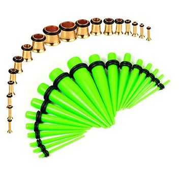 BodyJ4You Gauges Kit Neon Green Tapers Gold Plugs Steel 14G-00G Stretching Set 36 Pieces