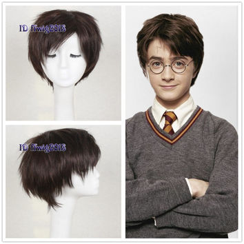 Harry Potter Cosplay Wig Short Dark Brown Synthetic Hair Full Wigs +a wig cap