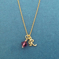 Personalized, Initial, Birthstone, Gold, Silver, Necklace, Birthday, Best friends, Lovers, Gift, Jewelry