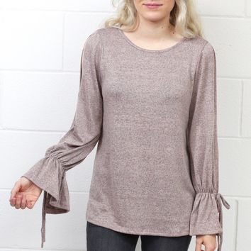 Cozy Heathered Open Sleeve Hacci Sweater {Blush} EXTENDED SIZES