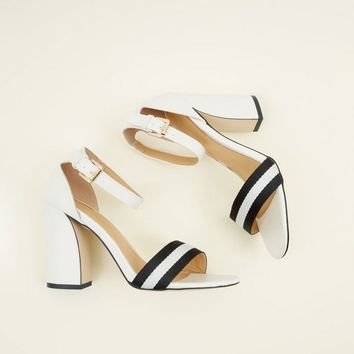 White Stripe Strap Block Heel Sandals | New Look