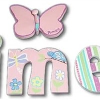 Aimee Butterfly Hand Painted Wooden Hanging Wall Letters