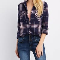 Plaid Button-Up Pocket Shirt | Charlotte Russe