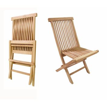 D Art Collection Teak Crestwood Folding Chair (set of 2 chairs)