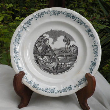 Longwy plate. French antique plate 'poissons et pêcheurs' or 'fish and fishermen' wall plate. cottage chic. country home. French antique