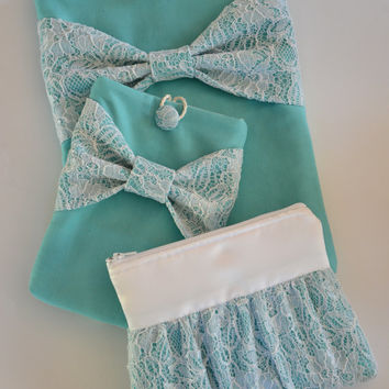 Macbook Pro 13 Sleeve Laptop Case & iPad Mini Sleeve and Zippered Accessory Pouch in Tiffany Blue with Lace Bow
