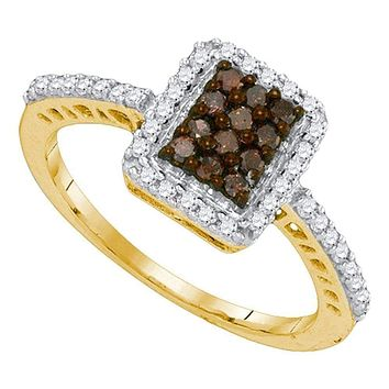 10kt Yellow Gold Women's Round Cognac-brown Color Enhanced Diamond Rectangle Frame Cluster Ring 3/8 Cttw - FREE Shipping (USA/CAN)