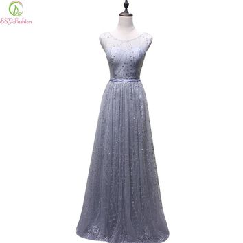New Banquet Elegant Evening Dress The Bride Grey Lace Embroidery Floor-length Sleeveless Formal Dress Party Gown